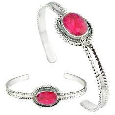 Red faux ruby oval shape 925 sterling silver adjustable bangle jewelry k28285