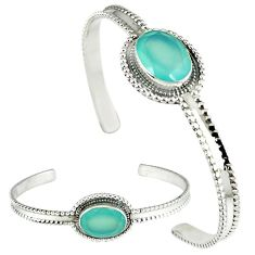 Natural aqua chalcedony oval 925 sterling silver adjustable bangle k28286