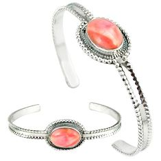 Natural pink opal 925 sterling silver adjustable bangle jewelry k28287
