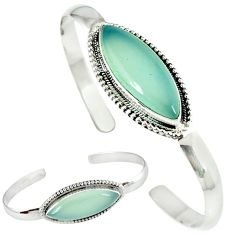 Natural aqua chalcedony 925 sterling silver adjustable bangle jewelry k28297