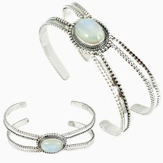 925 sterling silver natural rainbow moonstone oval adjustable bangle k28311