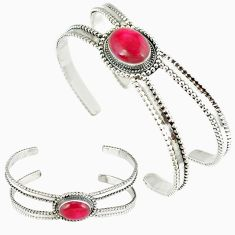 Red faux ruby oval shape 925 sterling silver adjustable bangle jewelry k28317