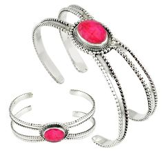 925 sterling silver red faux ruby oval bangle adjustable jewelry k28318