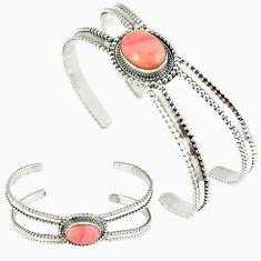 Natural pink opal 925 sterling silver adjustable bangle jewelry k28319