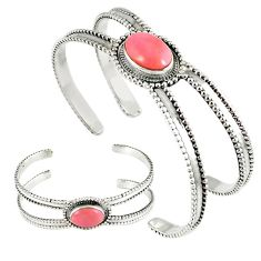 Natural pink opal oval 925 sterling silver adjustable bangle jewelry k28320