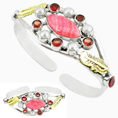 Rhodochrosite inca rose (argentina) 925 silver two tone adjustable bangle k47494