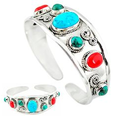 Natural blue magnesite turquoise coral 925 silver adjustable bangle k50341