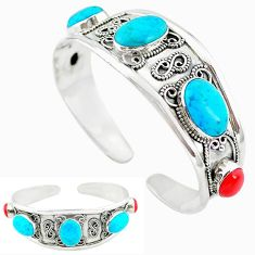 Natural blue magnesite red coral 925 silver adjustable bangle jewelry k50342