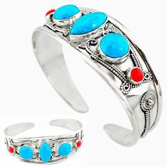 925 sterling silver natural blue magnesite red coral adjustable bangle k50343