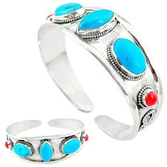 Natural blue magnesite red coral 925 silver adjustable bangle jewelry k50344