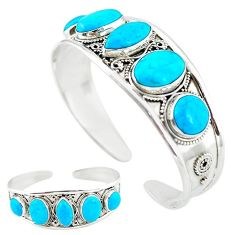 Natural blue magnesite 925 sterling silver adjustable bangle jewelry k50345