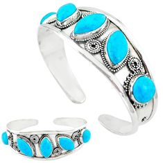 Natural blue magnesite 925 sterling silver adjustable bangle jewelry k50346