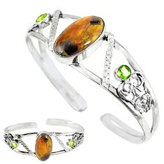 Natural brown pietersite (african) 925 silver adjustable bangle jewelry k57079