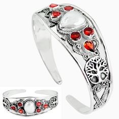 Natural white biwa pearl garnet 925 silver adjustable bangle jewelry k61641