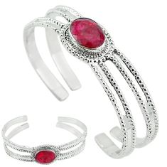 Natural red ruby 925 sterling silver adjustable bangle jewelry k61650