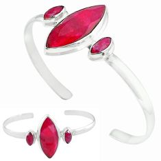 Natural red ruby 925 sterling silver adjustable bangle jewelry k61651
