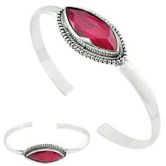 Natural red ruby 925 sterling silver adjustable bangle jewelry k61652