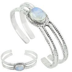 925 sterling silver natural rainbow moonstone adjustable bangle k61654