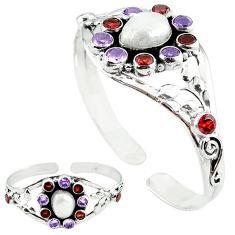 Natural white biwa pearl purple amethyst 925 silver adjustable bangle k61662