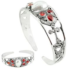 Natural white biwa pearl red garnet 925 silver adjustable bangle k61663