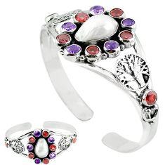 Natural white biwa pearl amethyst 925 silver adjustable bangle k61675