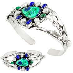 Natural green malachite (pilot's stone) 925 silver adjustable bangle k86616