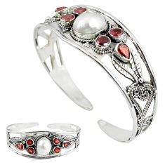 Natural white biwa pearl red garnet 925 silver adjustable bangle jewelry k86619