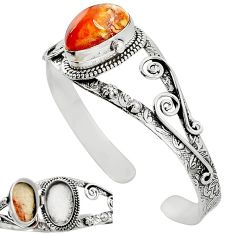 Natural multi color mexican fire opal 925 silver adjustable bangle k91281