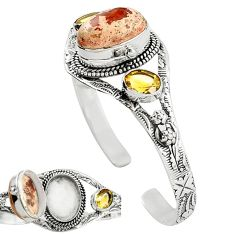 Natural multi color mexican fire opal 925 silver adjustable bangle k91282