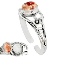 Natural multi color mexican fire opal 925 silver adjustable bangle k91283