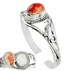 925 silver natural multi color mexican fire opal adjustable bangle k91284