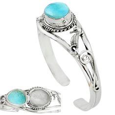 Natural blue larimar 925 sterling silver adjustable bangle jewelry k91285