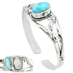 925 sterling silver natural blue larimar adjustable bangle jewelry k91286