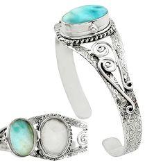 Natural blue larimar 925 sterling silver adjustable bangle jewelry k91288