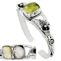Natural libyan desert glass (gold tektite) 925 silver adjustable bangle k91290
