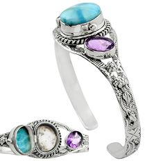 925 silver natural blue larimar purple amethyst adjustable bangle k91293
