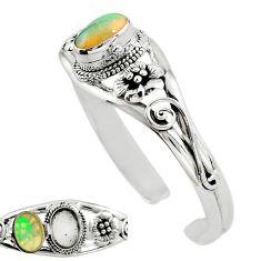 925 silver natural multi color ethiopian opal adjustable bangle jewelry k91295