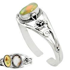 Natural multi color ethiopian opal 925 sterling silver adjustable bangle k91296