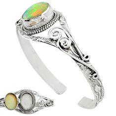 Natural multi color ethiopian opal 925 sterling silver adjustable bangle k91297