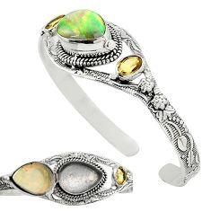 Natural multi color ethiopian opal 925 sterling silver adjustable bangle k91298