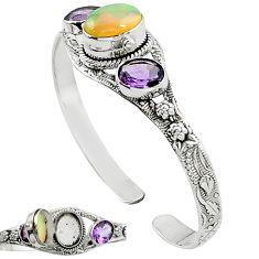 925 silver natural multi color ethiopian opal amethyst adjustable bangle k91299