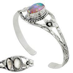 Natural multi color ethiopian opal 925 silver adjustable bangle jewelry k91300