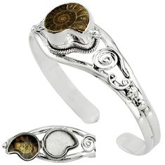 Natural brown ammonite fossil 925 silver adjustable poison box bangle k91307