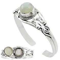Natural white ceylon moonstone 925 silver adjustable poison box bangle k91316