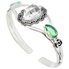 Natural white herkimer diamond 925 silver adjustable bangle jewelry m10373
