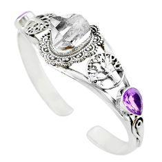 925 silver natural white herkimer diamond adjustable tree of life bangle m10374