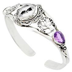 Natural white herkimer diamond 925 silver adjustable tree of life bangle m10375