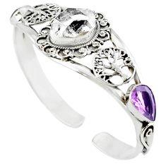 Natural white herkimer diamond 925 silver adjustable tree of life bangle m10376