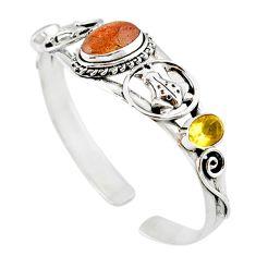 Natural orange sunstone (hematite feldspar) 925 silver adjustable bangle m10377