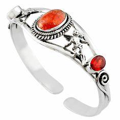Natural orange sunstone (hematite feldspar) 925 silver adjustable bangle m10379